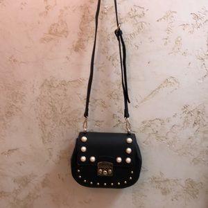 Frank Lyman black with pearls purse